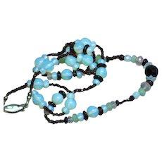 Opaline Opalite Faceted Bead Vintage 50's Garnet Necklace