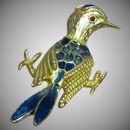 Rare Whimsical Blue Enameled Bird Figural Pin Brooch
