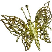 Monet Signed  Filigree Gold Toned Double Wing Butterfly Figural Vintage Brooch Pin