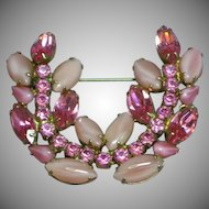 Fabulous D&E Juliana Pink Rhinestone Estate Pin Brooch