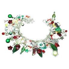 Vintage Loaded Silver Enamel Christmas Theme One of a Kind Charm Bracelet