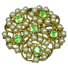 Rhinestones Peridot and Faux Pearl 3-D Pin Brooch