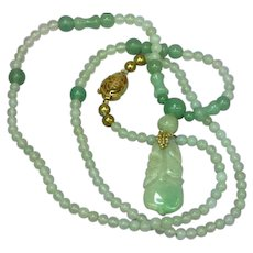 Natural Carved Green Jade Plum and Cherry with  Jade Beads Necklace