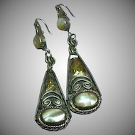 Vintage Iridescent Mother of Pearl Sterling Silver Dangle Pierced Earrings