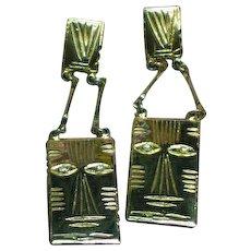 Laurel Burch Goldtone Cat Pierced Dangle Earrings