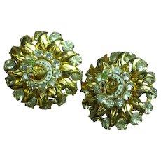 Rhinestones Enamel Peace Dove Moon Rebekah's Pierced Earrings