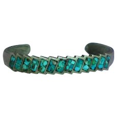 Vintage Native American Indian Navajo Sterling Turquoise Inlay Zigzag Cuff Bracelet