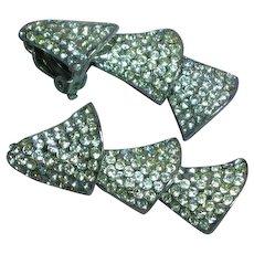 Crystal Rhinestone Flower Bell Mid-Century Dangle Clip Earrings