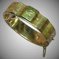 Vintage Gold Filled Hinged Initial L B & B Bates & Bacon Bangle Bracelet