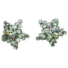 Rhinestones Enamel Eastern Star Vintage Estate  Earrings