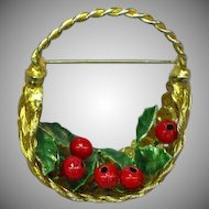 Vintage Christmas Flower Basket Holly Berries Woven Goldtone Basket Pin Brooch