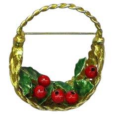 Vintage Christmas Flower Basket Holly Berries  Basket Pin Brooch