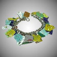 33 Enameled States Vintage Sterling Silver Charms Loaded Link Charm Bracelet