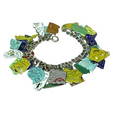 Enameled States Vintage Sterling Silver 33 Charms Loaded Charm Bracelet
