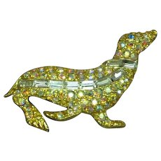 Gorgeous Rhinestone Encrusted Seal Goldtone Animal Figural Pin Brooch