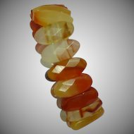 Carnelian Agate Faceted Stone Icy Cold Stretch Bracelet