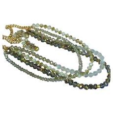 Magnificent Faceted  Champagne Aurora Borealis  Mink  4 Strand Necklace Pierced Earrings Set Demi Parure