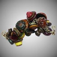 Bakelite Lucite Vintage Plastics Stacked Button Bronze Link Bracelet