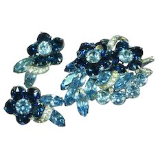 EISENBERG Exquisite Beyond Brilliant Blue LARGE Rhinestone Pin / Brooch & Earrings In Original Gift Box