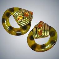 Gorgeous Huge Faux Tortoise Shell Lucite Hoop Vintage Clip Earrings
