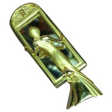 A.J.C. Marked Elegant Lady in Mirror Art Deco Style Gold tone Vintage  Book Piece Brooch Pin