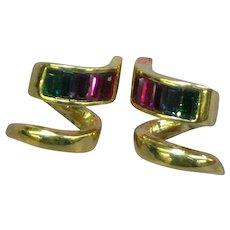 Dazzling Mixed Gemstone Pierced Earrings