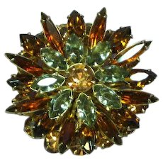 Austrian Ornate Large Four Layered Tiered Autumn Rhinestones Gold tone Pin Brooch
