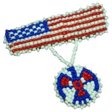 Native American Indian Hand Beaded Trading Post Tourist Trinket USA Flag Pin Brooch