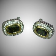 Beautiful Vintage Sterling Silver Oval Pave CZ Rhinestones Olivine Green Omega Back Pierced Earrings
