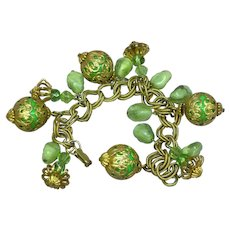 Green  Vintage Gold tone Lucite Dangle Charm Bracelet