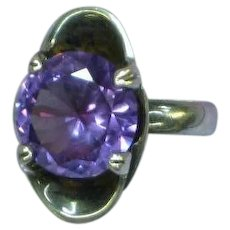 Faux Alexandrite Corundum Color Change Sterling Silver Cocktail Ring