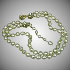 Miriam Haskell Signed Glass Baroque Pearl Two Strand Necklace