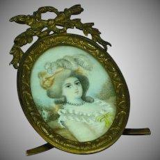 Hand Painted Miniature Portrait Gilt Bronze with Filigree Frame