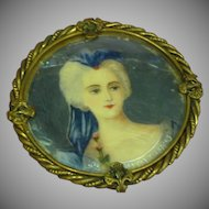 Hand Painted Portrait Large Exceptional Brooch Pin