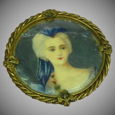 Hand Painted Portrait MASSIVE Exceptional Brooch Pin