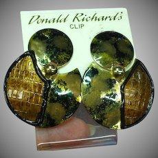 Donald Richards Designer Large Fashion NOS Clip Earrings