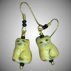 Hand Made Painted Ceramic Cats Drop Pierced Earrings