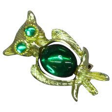 Vintage Green Jelly Belly Owl Figural Pin Brooch