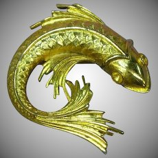Gold Tone Fish Figural Brooch Pin