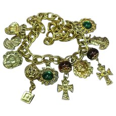 Crest Heraldic Charms Vintage 60s, Shield, Cross, Royal Lion, Big Statement,  Goldtone Necklace