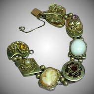 Victorian Revival Large Jeweled Cameo Slide Bracelet