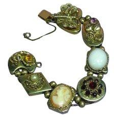 Victorian Revival Large Jeweled Cameo Slide Bracelet