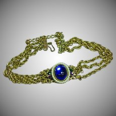 Art Deco Look  Blue Cabochon Rhinestone Wedding Choker Necklace