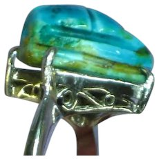 Vintage Egyptian Revival Sterling Silver Faience Scarab Ring