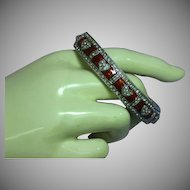 Vintage Silver Rhinestone Hearts Red Enamel Bangle Bracelet