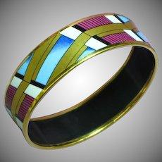 Vintage Signed Austria Michaela Frey 24kyg Plated Enamel Bangle Bracelet
