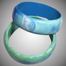 Pair of Blue Green Swirling Lucite Bangle Bracelets