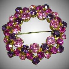 Signed Austria Fiery Pink Purple Rhinestone Wreath Circle Brooch Pin