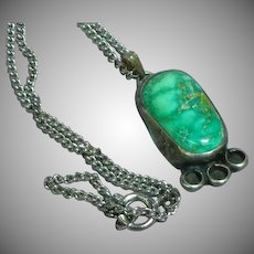 Native American Indian Sterling Silver Turquoise Pendant Necklace