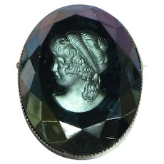 Carved Black Onyx Intaglio Cameo Pin Brooch